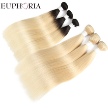 Brown Blonde 613 Remy Human Hair Bundle Pack For Salon 8-26inch Ombre Black Blonde Brazilian Hair Weaves 3 Bundles EUPHORIA Weft