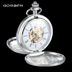 الفضة 2 الجانبين فتح الحقيبة البولندية الميكانيكية جيب فوب الساعات مع سلسلة Steampunk اليد الرياح reloj bolsillo ساعة رجالي الهدايا