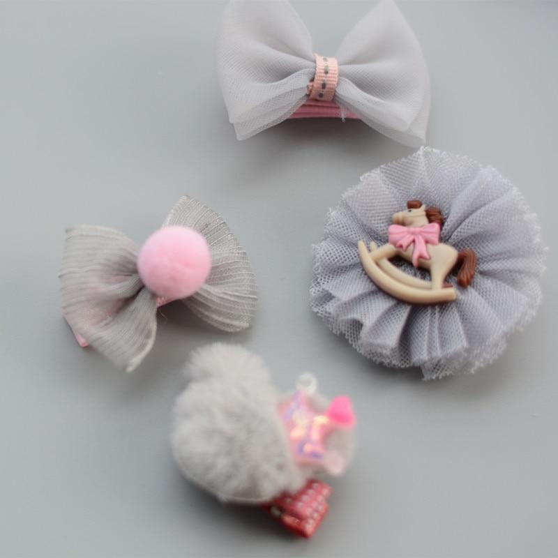 6pcs Kids Girls Bowknot Hair Clips Flowers Bow Hairpins Headwear Headdress
