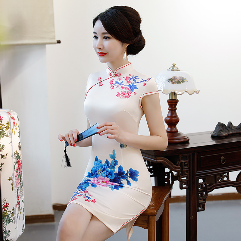 New Arrival Women's Satin Mini Cheongsam Fashion Chinese Style Dress Elegant Slim Qipao Clothing Size S M L XL XXL 368483 7