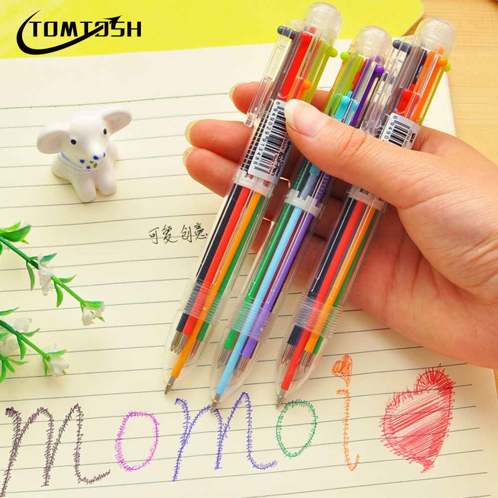 TOMTOSH 2017 New Hot Arrival Novelty Multicolor Ballpoint Pen Multifunction 6 In1 Colorful Stationery Creative School Supplies mos 3s rc drone lipo battery 11 1v 6000mah 30c for rc airplane helicopter truck car akku free shipping