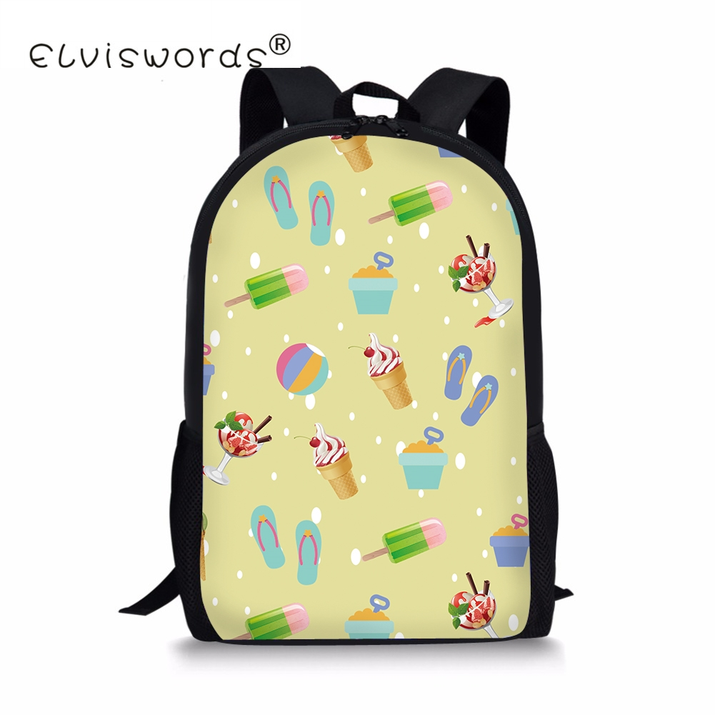 Yellow Summer Ice Cream Printed Knapsacks For School Girls Cartoon Cute Schoolbags For B ...