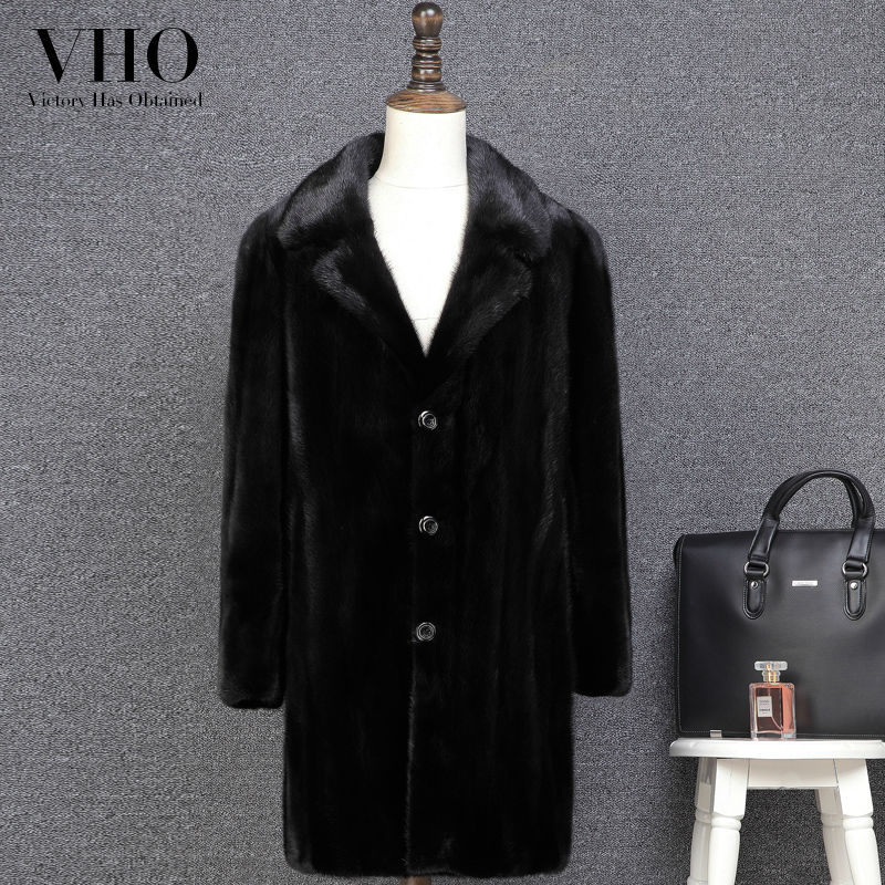 VHO Coat Real-Fur Genuine-Leather Jackets Natural Luxury Warm Fashion of Long Mink-Fur-Plus