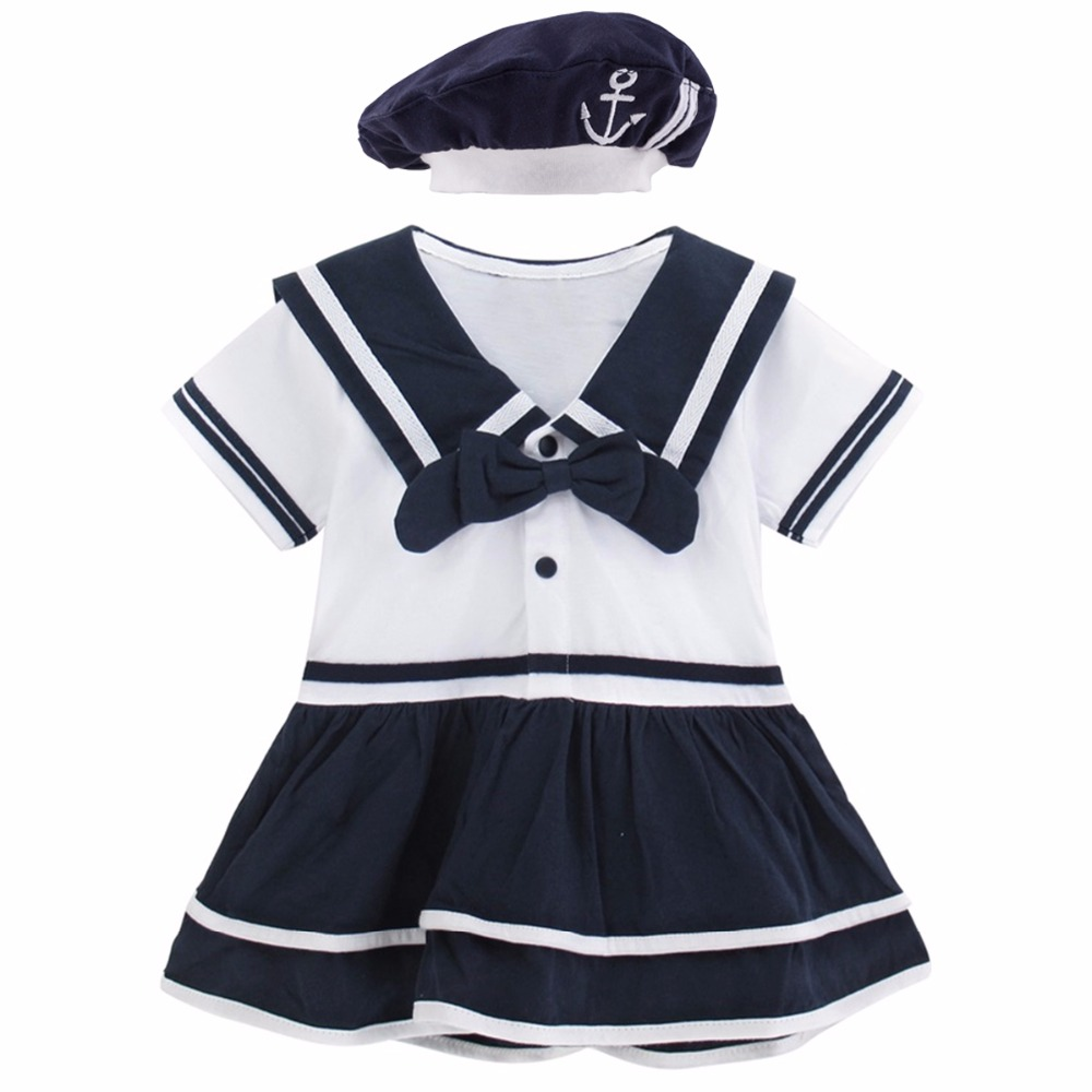 606ea2f7bfa Baby Girls Dress Newborn Sailor Bodysuit With Hat Infant Summer Clothes  Toddler Halloween Cosplay Costume Bodysuit