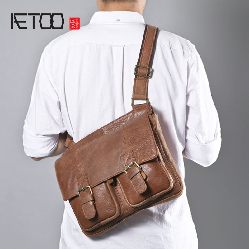 AETOO New original retro leather shoulder bag matte handmade leather simple large tide posture diagonal cross package men aetoo oil wax leather leather europe and america retro men s 8 inch summer travel simple shoulder diagonal package