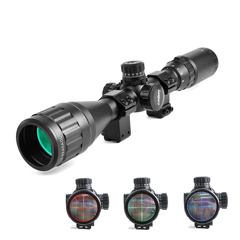 LEAPERS 3-9x40 AOL Hunting Scopes Optics Riflescope Red&Green&Blue Illuminated Rifle Scope For Rifle Air Guns Reflex Sight оптика leapers