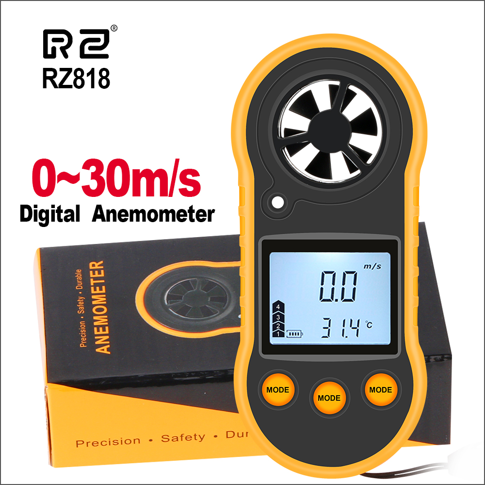 RZ Anemometer Wind Speed Handheld Digital Wind Speed Meter Portable Anemometer Sensor Wind Speed RZ818 GM816 0-30M/S Wind Meter