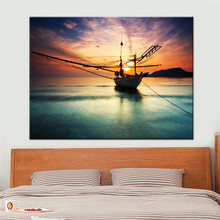 1 Panel Sunset Ship On Dusk Calm Sea Poster Modern Home Wall Decorative Canvas Picture Art HD Printing Painting Artworks