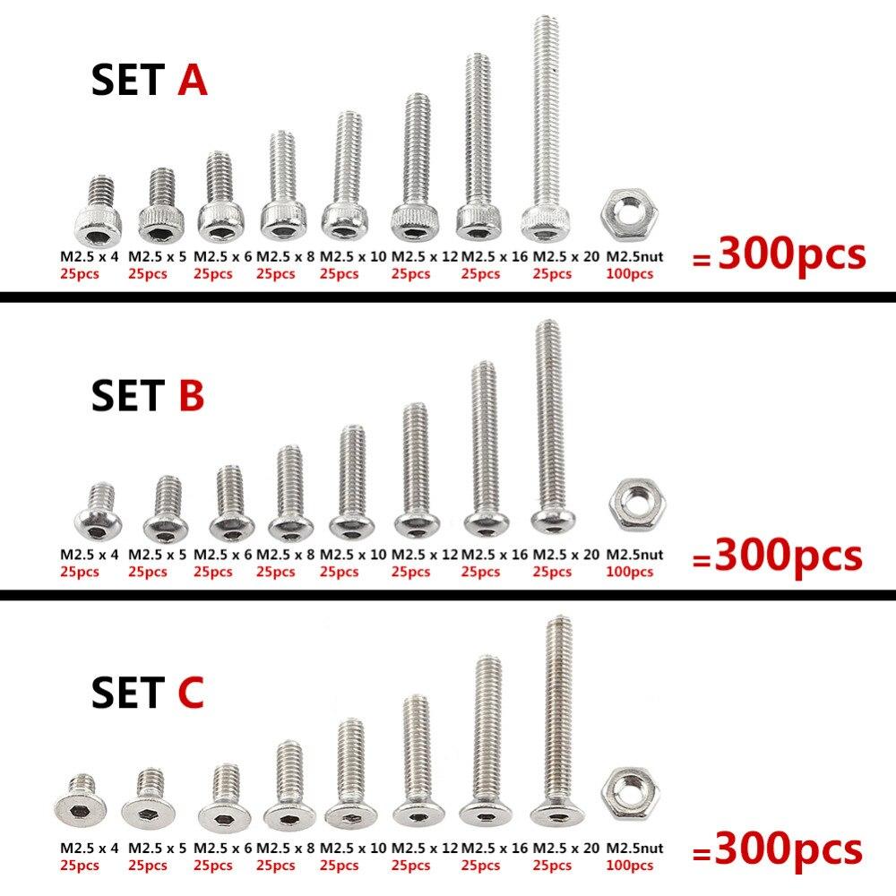 300pcs/<font><b>set</b></font> Assortment Kit <font><b>Set</b></font> A2 Stainless Steel Hex <font><b>Socket</b></font> <font><b>Screw</b></font> Bolt Nut M2.5 4-20mm