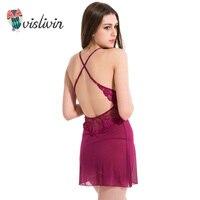 Vislivin Summer Lace Sexy Dress For Sleep Women G String Underwear Floral Nightdress V Neck Transparent