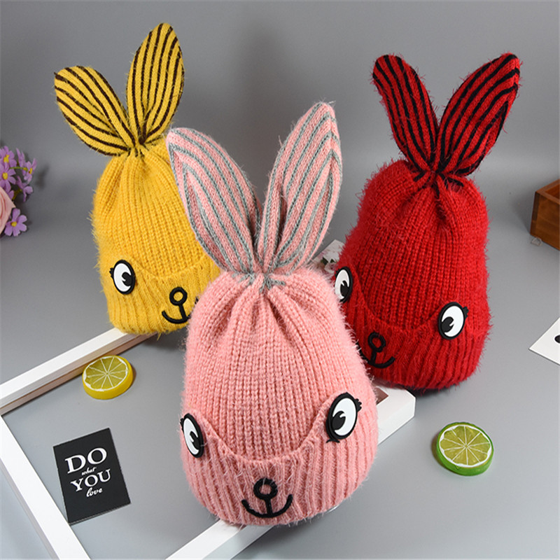 Winter Hat for Children Rabbit Ears Cartoon Knitted Beanie Thick Warm Hat for Girls