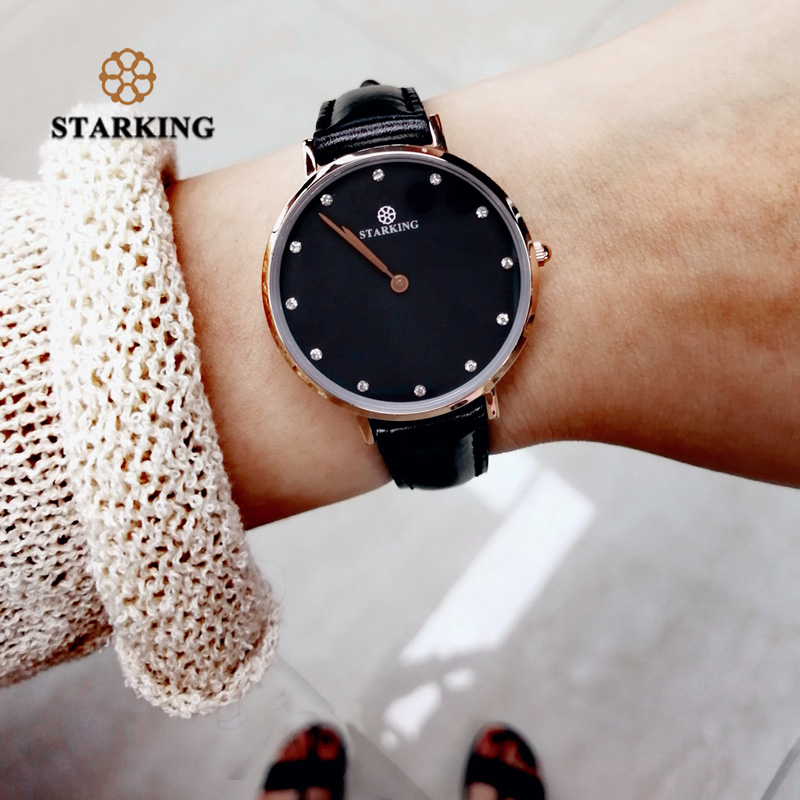 STARKING Luxury Fashion Lady Casual Watches Rose Gold Minimalism Rhinestone Simple Women Watches Elegant Black Steel Girls Clock