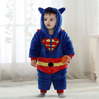 Winter Baby Romper Thick Warm Garment Infant Superman Costumes Flannel Hoodies Jumpsuit Baby Girl Boys Romper