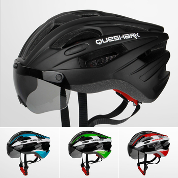 QUESHARK Windproof Bicycle Helmet Safety Riding Caps Breathable Mountain Road MTB Bike Helmets with Goggles Removable Lens 1