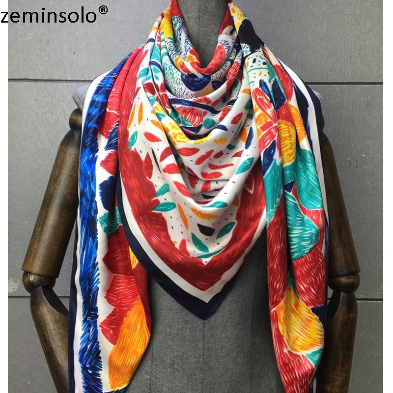 100% Silk Scarf Women Scarves Printed Plaid Scarf 2019 130*130cm Foulard NeckerChief Bandana Shawls Large Square Silk Scarves