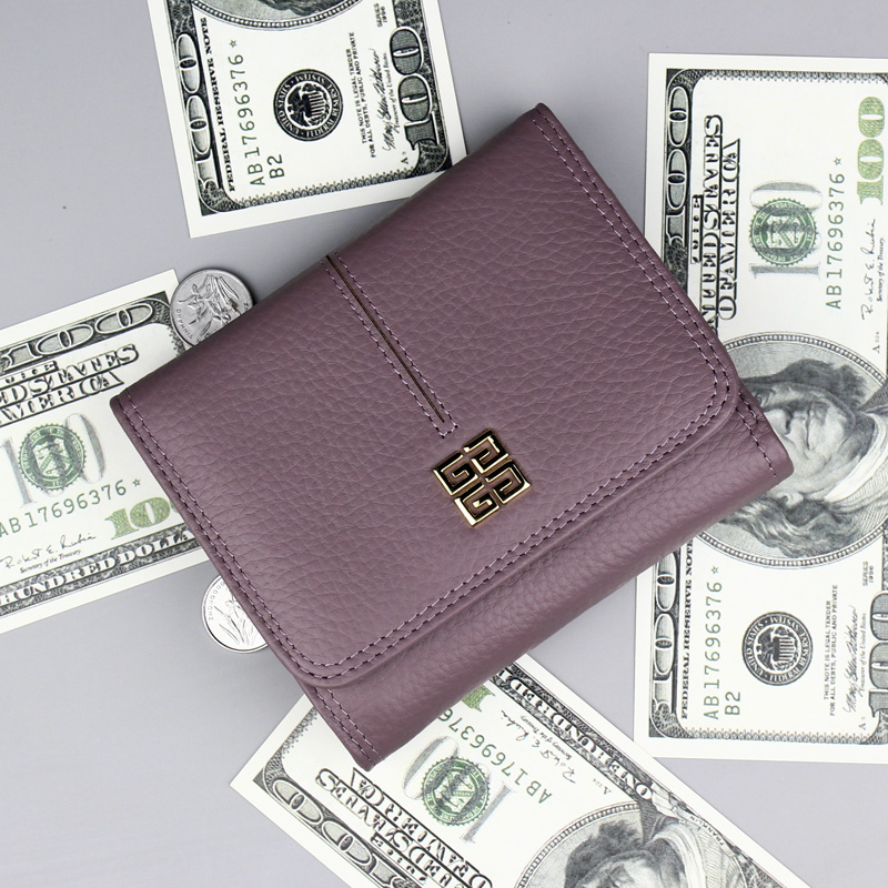 Fashion Women Wallet Short 3 Fold Genuine Leather Female Coin Purse Card Holder High Quality Cowhide Wallet Women Small Wallet