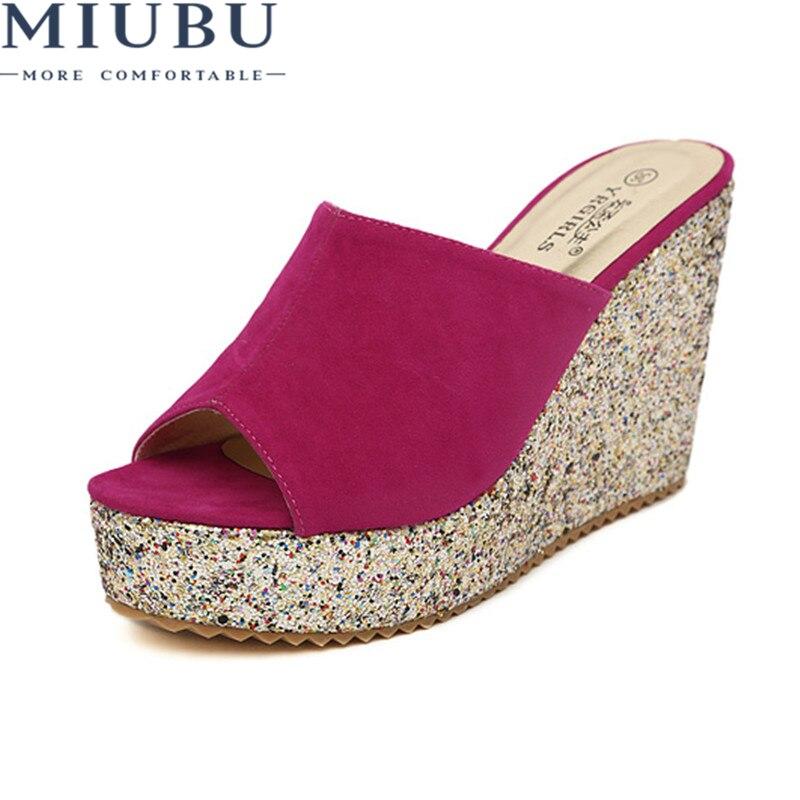 MIUBU Sandalias Plataforma Bling Gold Metallic Sandals Heels Suede Women Slippers Womens Platform Wedge Shoes Summer in Slippers from Shoes