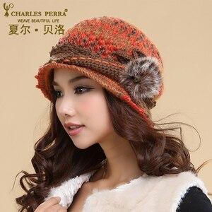 Image 4 - Charles perra chapéus femininos inverno engrossar dupla camada térmica chapéu de malha artesanal elegante senhora casual gorros de lã 3538
