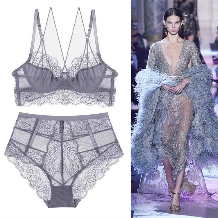 167d97da5e ... Sexy Lace Embroidery Lingerie VS Pink Brassiere Bra Ultrathin Underwear  Set Plus Size C D Cup Women ...