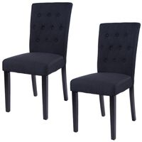 Giantex Set of 2 Fabric Dining Chair Home Kitchen Armless Chair Modern Dining Room Living Room Furniture HW52778BK