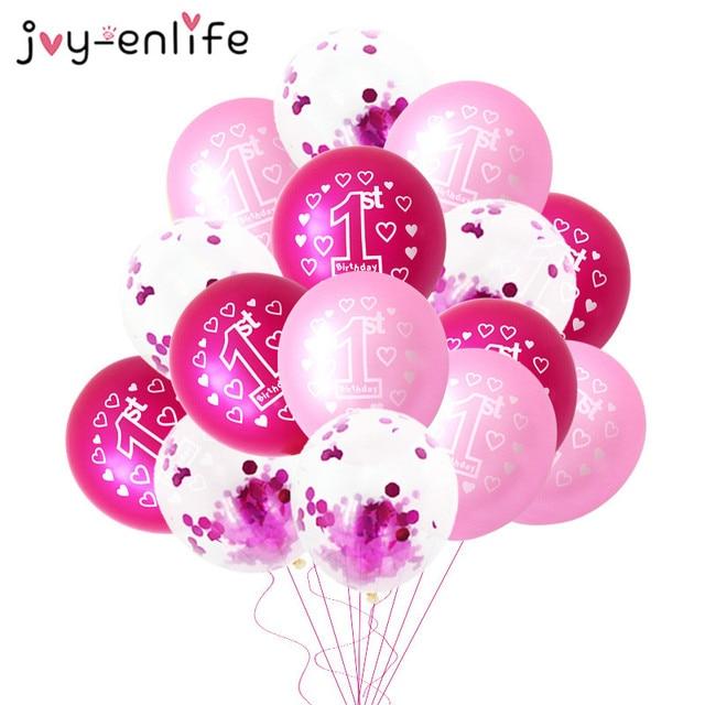 10 Globos rosas de 1 er cumpleaños, 1 año de edad, primer cumpleaños, decoración de fiesta, Globos de látex, Globos de fiesta, recuerdo para Baby Shower Girl