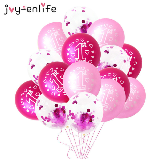 10pcs Pink 1st Birthday Balloon One 1 Year Old First Happy Party Decoration Latex Ballons Globos Baby Shower Girl Favor