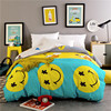 Yellow Smiley Pattern Cartoon Card Love 1 Pcs Duvet Cover With Zipper 100 Cotton Quilt Or