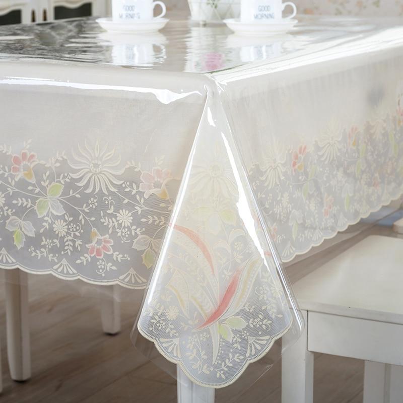 Купить с кэшбэком Thin soft style sagging wood tablecloth Transparent Scrub plastic PVC Soft glass table cover Protective film waterproof PVC mat