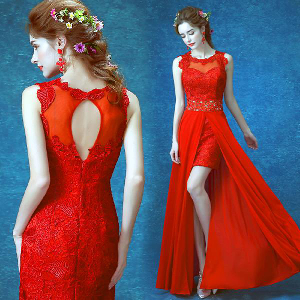 New designer 2016 red crystal backless lace removable party dresses ...