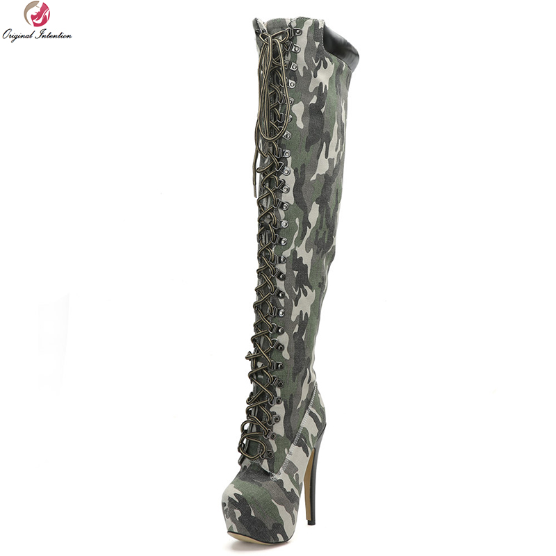 Original Intention Sexy Women Over the Knee Boots Fashion Round Toe Thin Heels Boots Camouflage Shoes