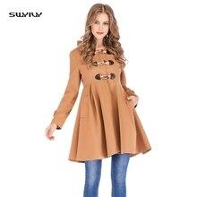 цены SWYIVY Women's Wool Coat Women Hooded Long Sleeve Horn Button Jacket Female Casual Slim Long Woolen Coat Elegant Warm Overcoat