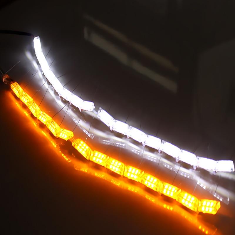 KAHANE 2x 16 LED DRL Car ճկուն սպիտակ / սաթ - Ավտոմեքենայի լույսեր - Լուսանկար 5
