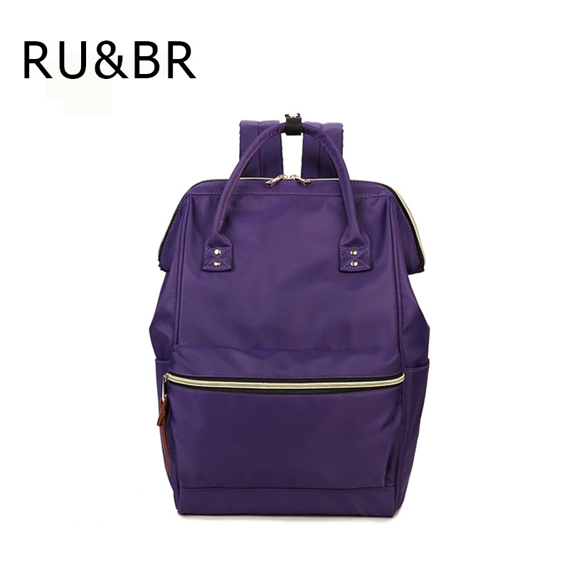 RU&BR Fashion Casual Woman Backpack Retro Solid Color Pattern school Bag For Youth High Capacity Waterproof Laptop Man