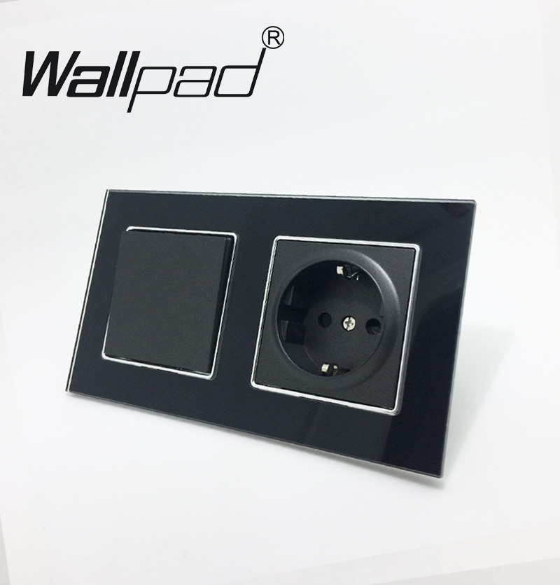 EU Socket with Claws Wallpad Black Glass Panel 1 Gang 2 Way Wall Switch and Schuko EU Wall Power Socket with Haken Mount Back цена и фото