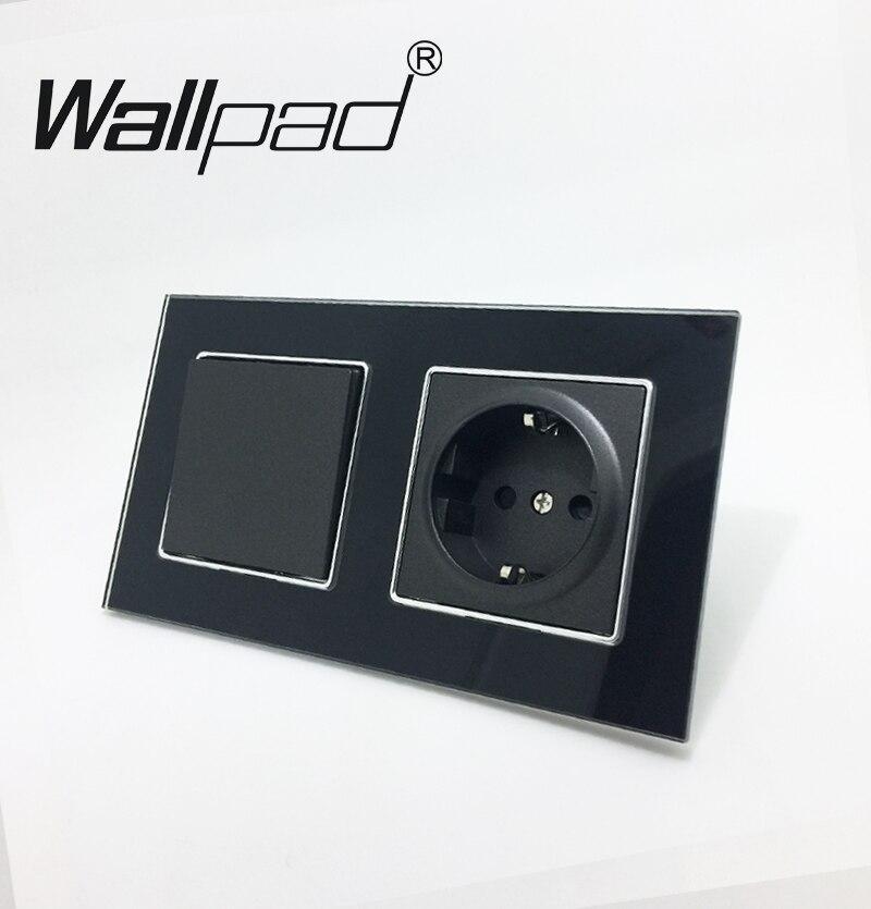 UE Socket avec Griffes Wallpad Noir Verre Panneau 1 Gang 2 Façon Interrupteur Mural et Schuko UE Mur Prise D'alimentation avec Haken Arrière pour Montage