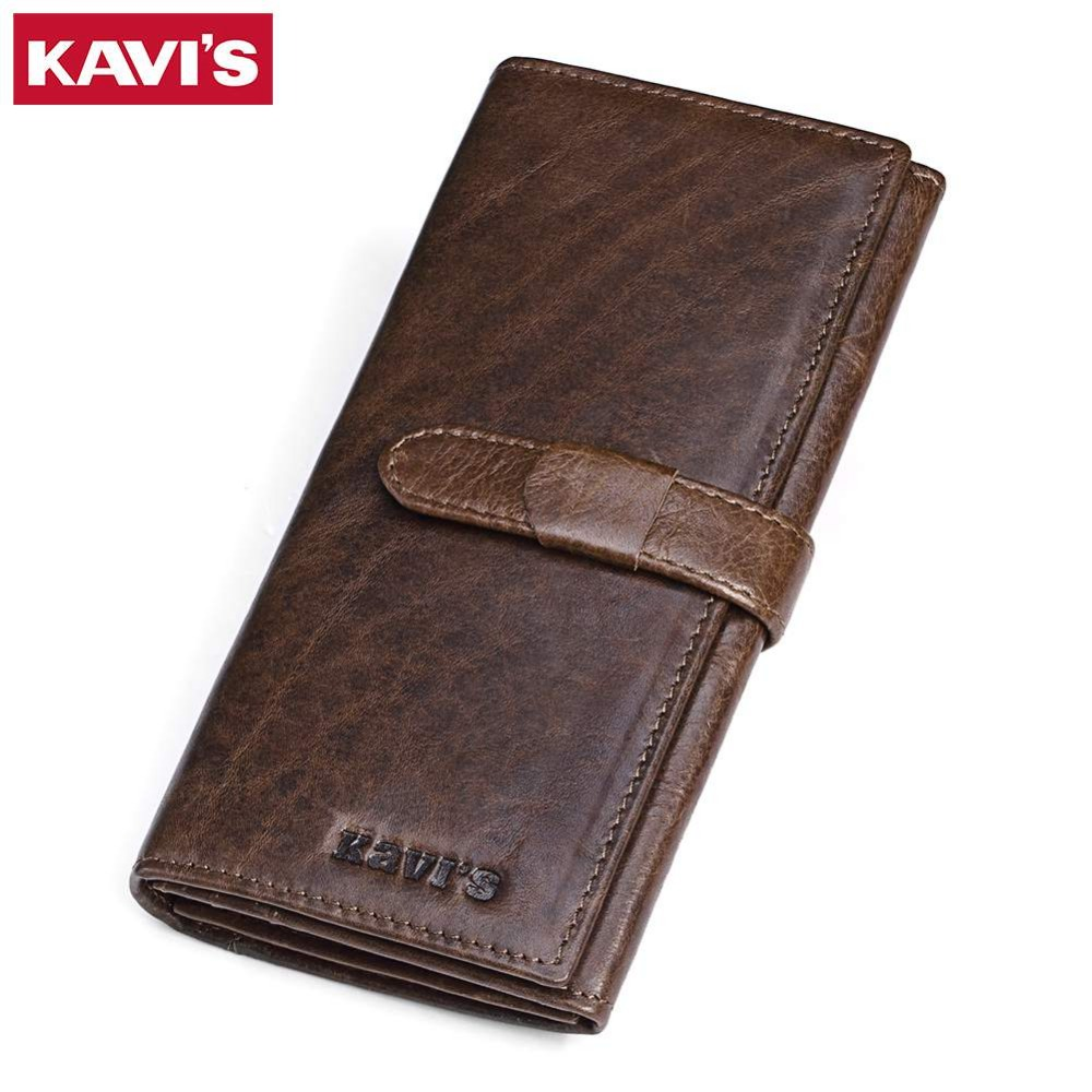 KAVIS Brand Fashion Genuine Leather Women Wallet Female Long Coin Purse Walet Portomonee Lady For Girl Money Bag Rfid Card kavis genuine leather long wallet men coin purse male clutch walet portomonee rfid portfolio fashion money bag handy and perse