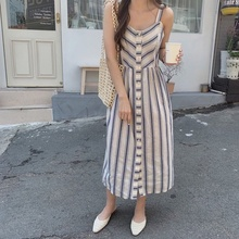 Vintage Women Maxi Dress Striped Sleeveless Loose V-neck Sling Long Dresses