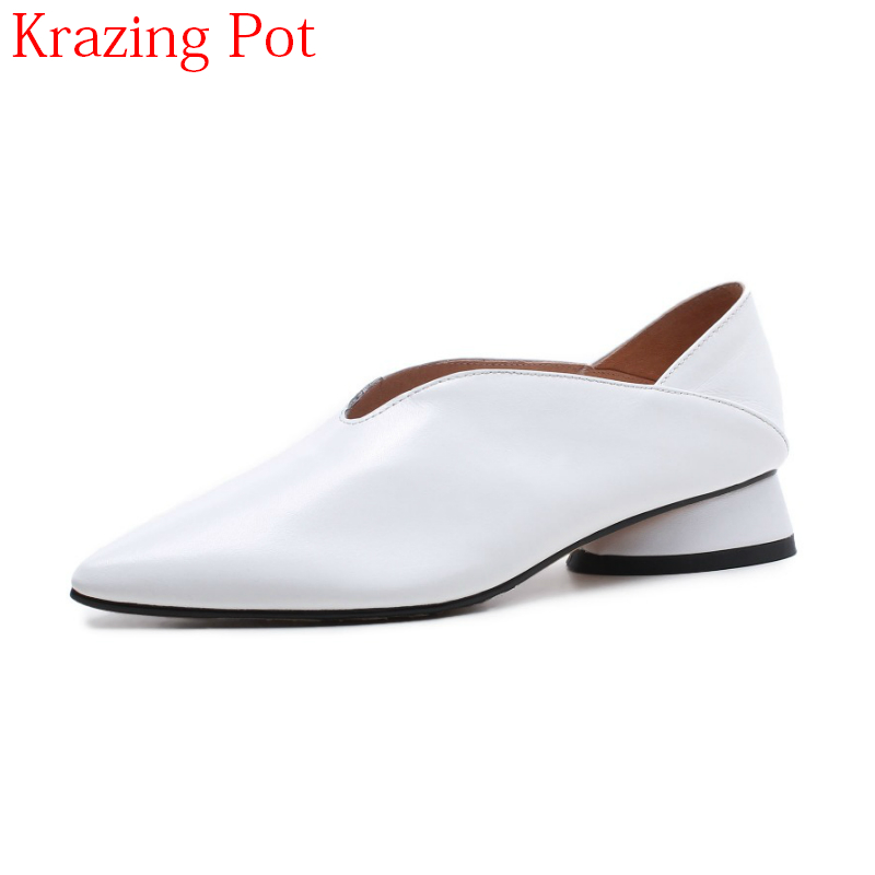 2018 Fashion Pointed Toe Genuine Leather Slip on Spring Shoes Low Heels Women Pumps Classics Strange Style Office Lady Shoe L4f1 cresfimix women cute spring summer slip on flat shoes with pearl female casual street flats lady fashion pointed toe shoes