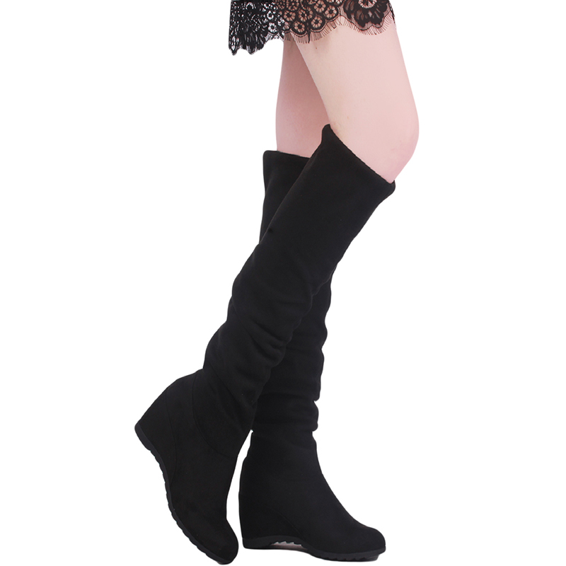 2017 Autumn Winter Ladies Fashion Flat Bottom Boots Shoes Women Boots Over The Knee Thigh High Suede Long Boots OR875876 e toy word autumn winter boots women over knee thigh high boots women flats long boots low heel suede leather women shoes