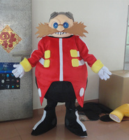 Smart Yellow Doctor Sonic The Hedgehog Mascot Costume With Brown Long Thick Beards Blue Glasses Holiday
