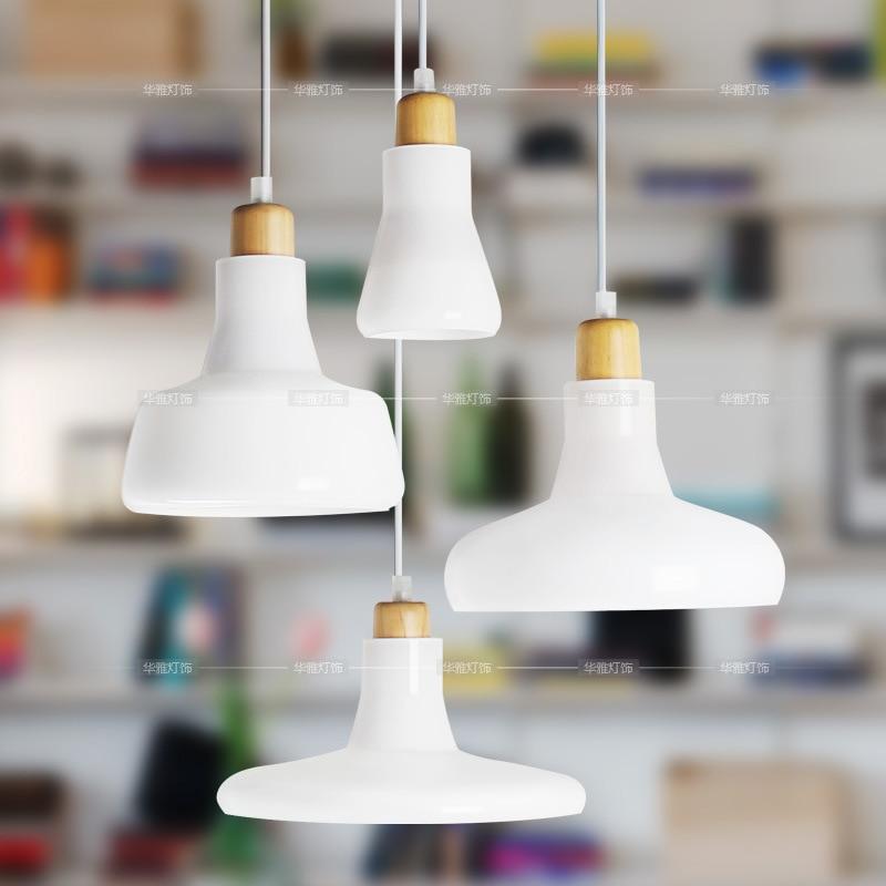 Nordic Pendant Lights Wood Aluminum Lampshade Industrial Lighting Loft Lamparas Colorful Pendant Lamp E27 Base Light Fixtures