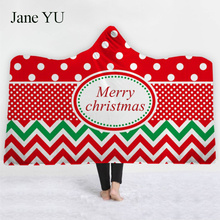 JaneYU Wear a hat blanket explosion with a hat blanket cloak thickened double plush 3D digital printing Christmas new style spiral style plush christmas hat red white