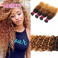 Cabelo indiano weave 3 bundle7a omber cabelo virgem indiano profundo tecer pacote queen hair produtos não transformados virgem indiano weave profundo