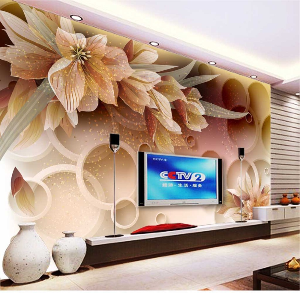 Custom Any Size Elegant 3D Flowers Wall Mural Paper For Room TV