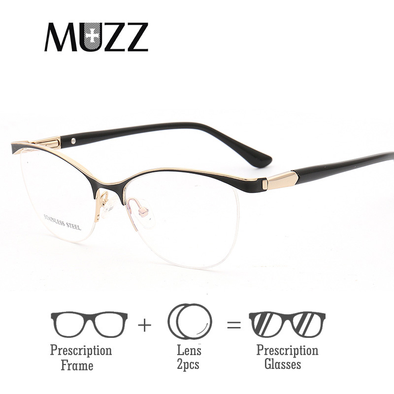 MUZZ Cat Eye Optical With lens Metal Glasses Frame Women Prescription Eyewear Clear