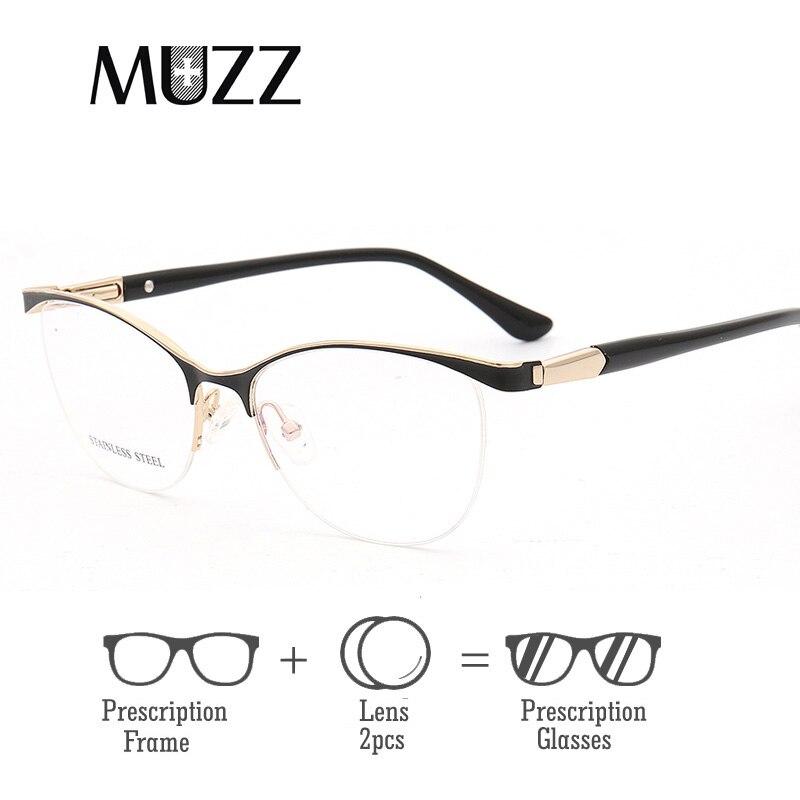 63cb82cef7 Ojo de Gato mujer ópticos marcos gafas con lente de Metal gafas de Marco de  las mujeres gafas graduadas claro miopía computadora gafas