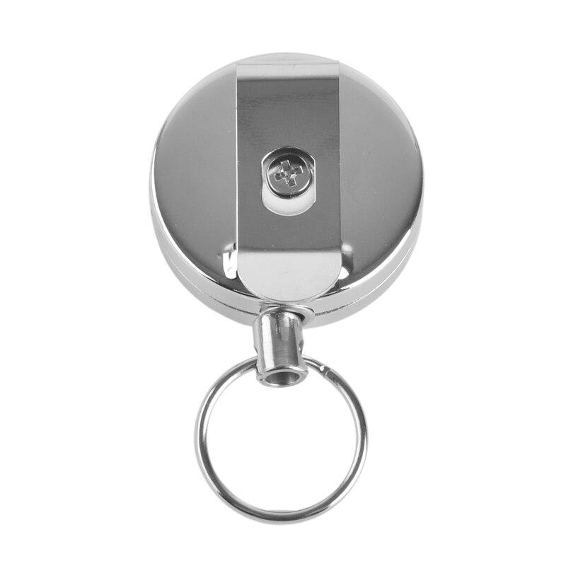 1x Steel Wire Rope Key Chain Retractable Anti Lost Badge Reel EDC Tool