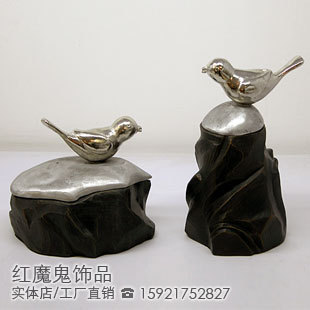 American style home accessories furniture decoration stone bird jewelry box