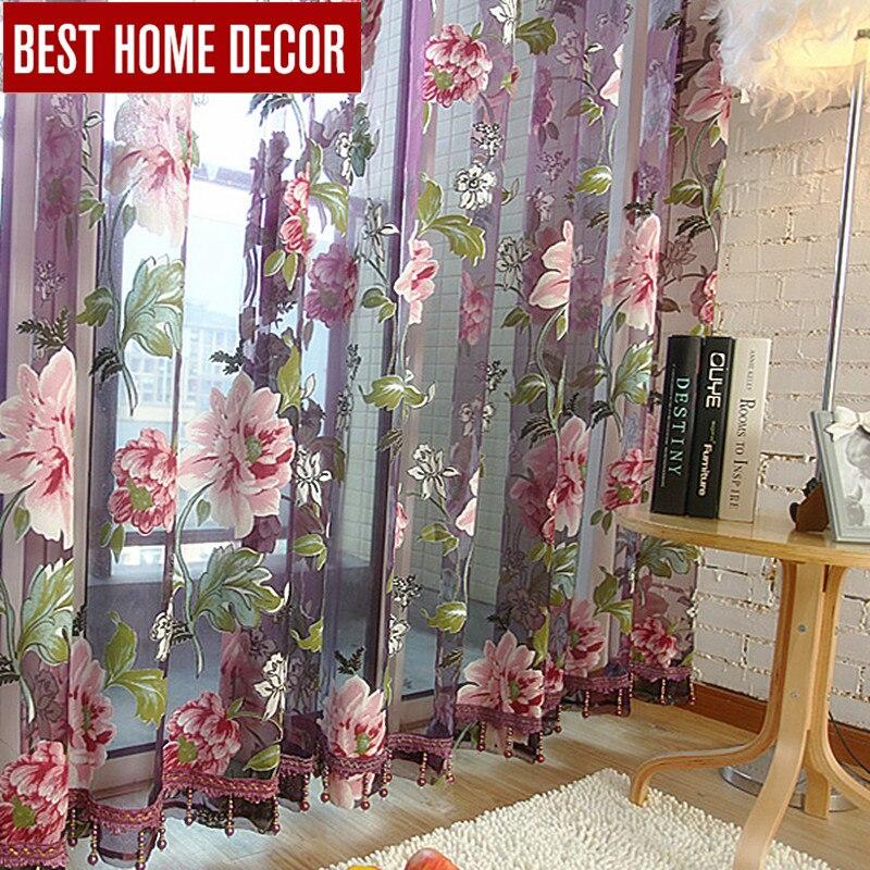 Mejores cortinas de decoración para el hogar cortinas de ventana transparentes para sala de estar el dormitorio cocina cortinas de tul modernas persianas de tratamiento de ventana