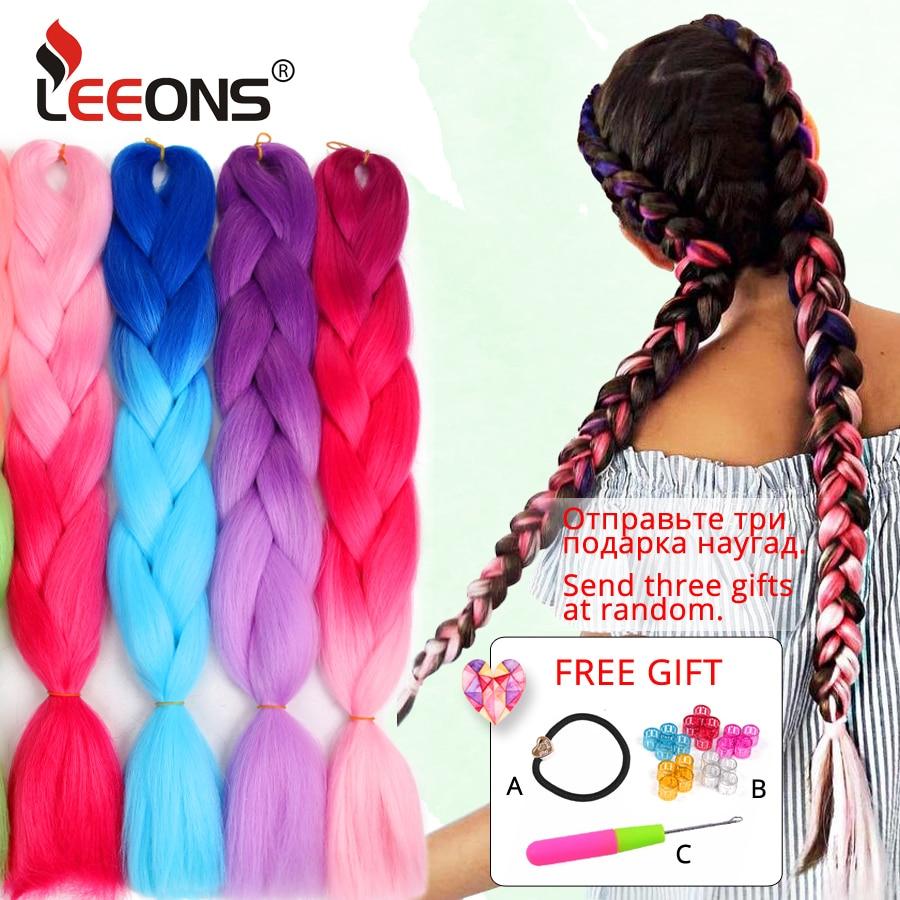 Leeons Purple Pink Blue Jumbo Braid Synthetic Ombre Braiding Hair Extensions 24inch 100g/Pack Long Jumbo Braids Crochet Hair